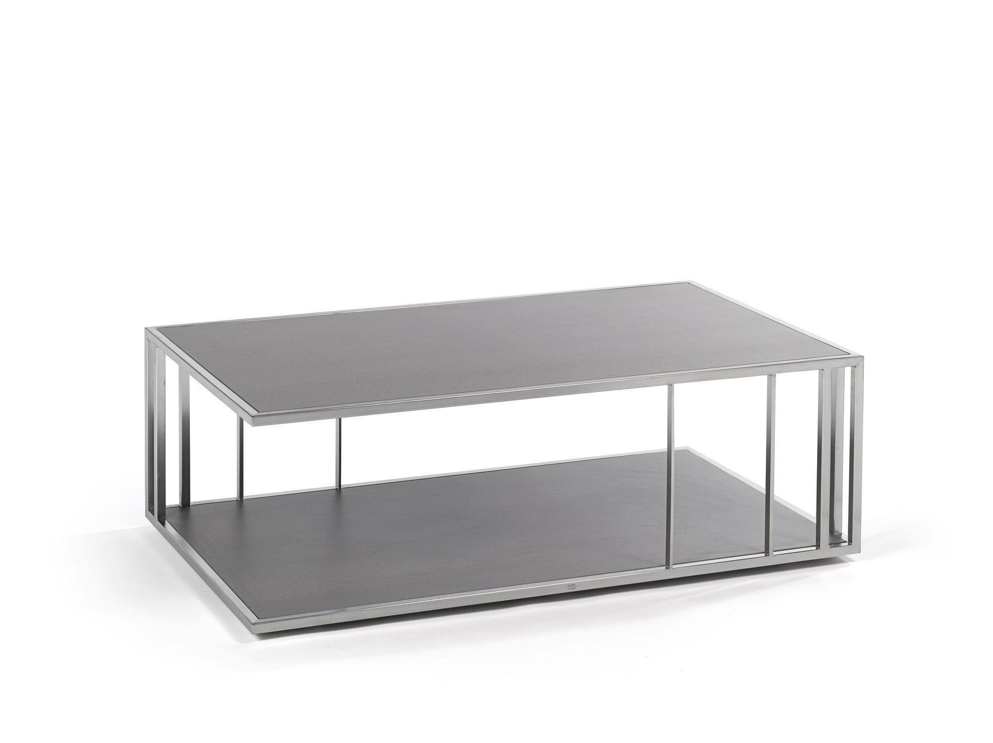 Table basse contemporaine en acier inoxydable rectangulaire