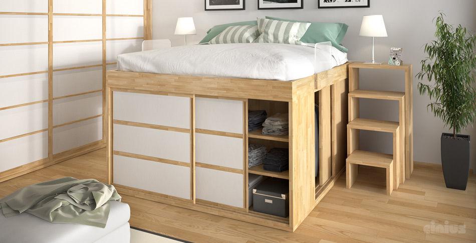 Bien-aimé Lit double / contemporain / avec rangement intégré / en bois  XE98
