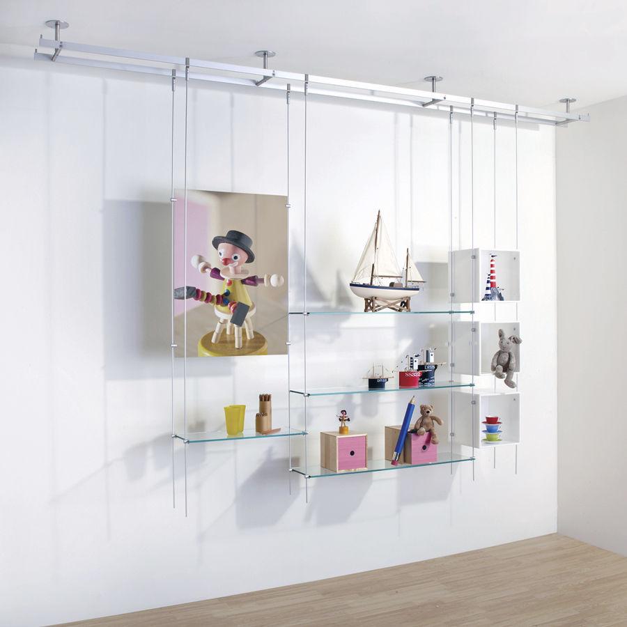 système d'étagères suspendu / contemporain / en verre / pour