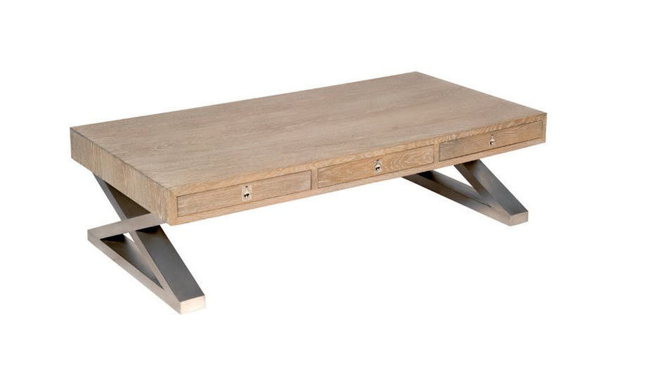 table basse contemporaine / en chêne / rectangulaire / avec tiroir
