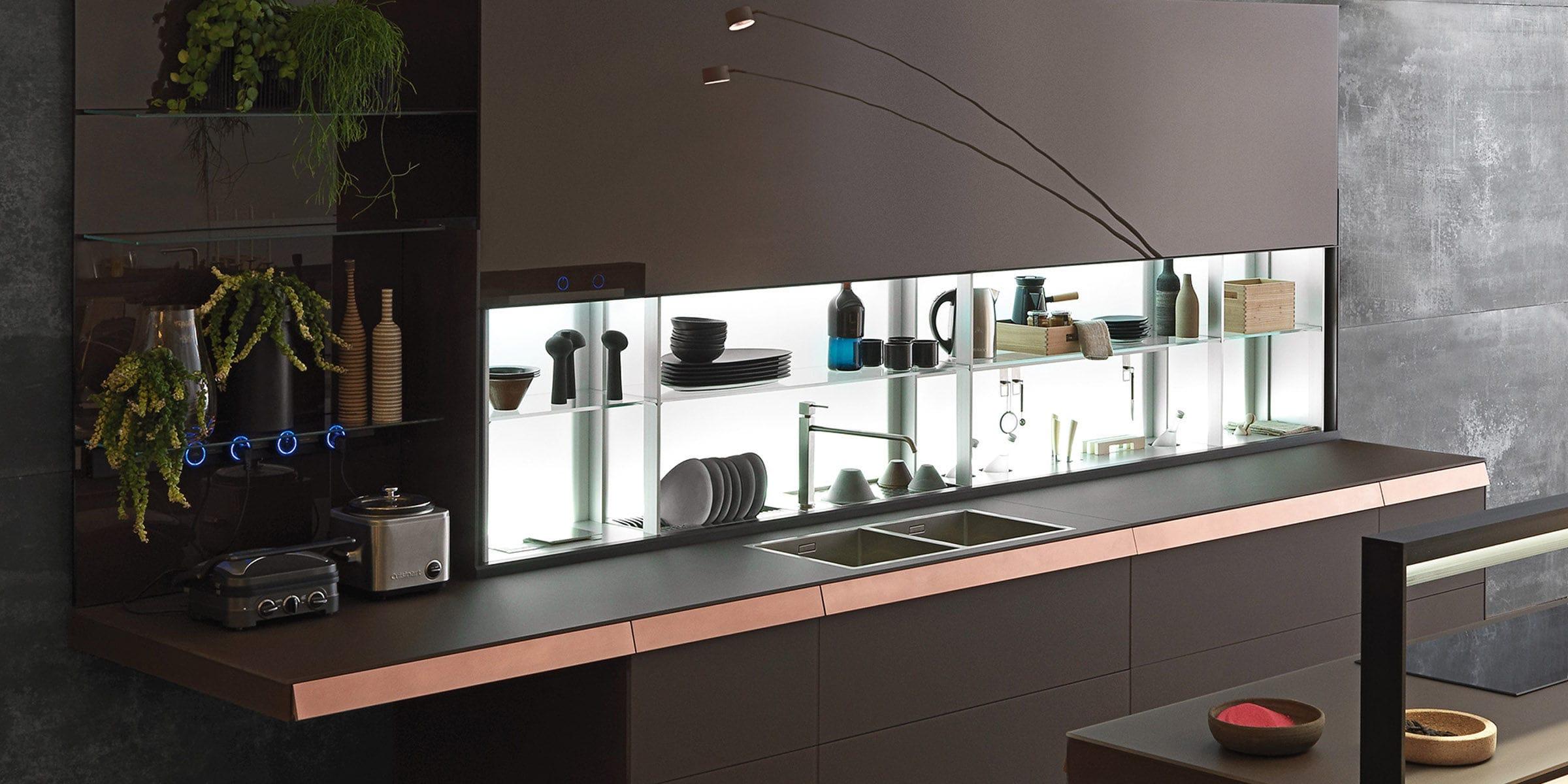 Étagère contemporaine / en verre / pour cuisine / éclairée - AIR ...