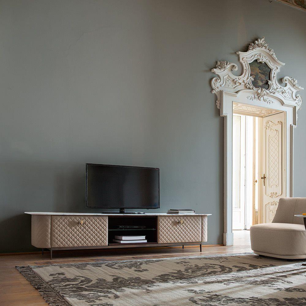 Meuble de télévision de style Art Déco en bois en cuir