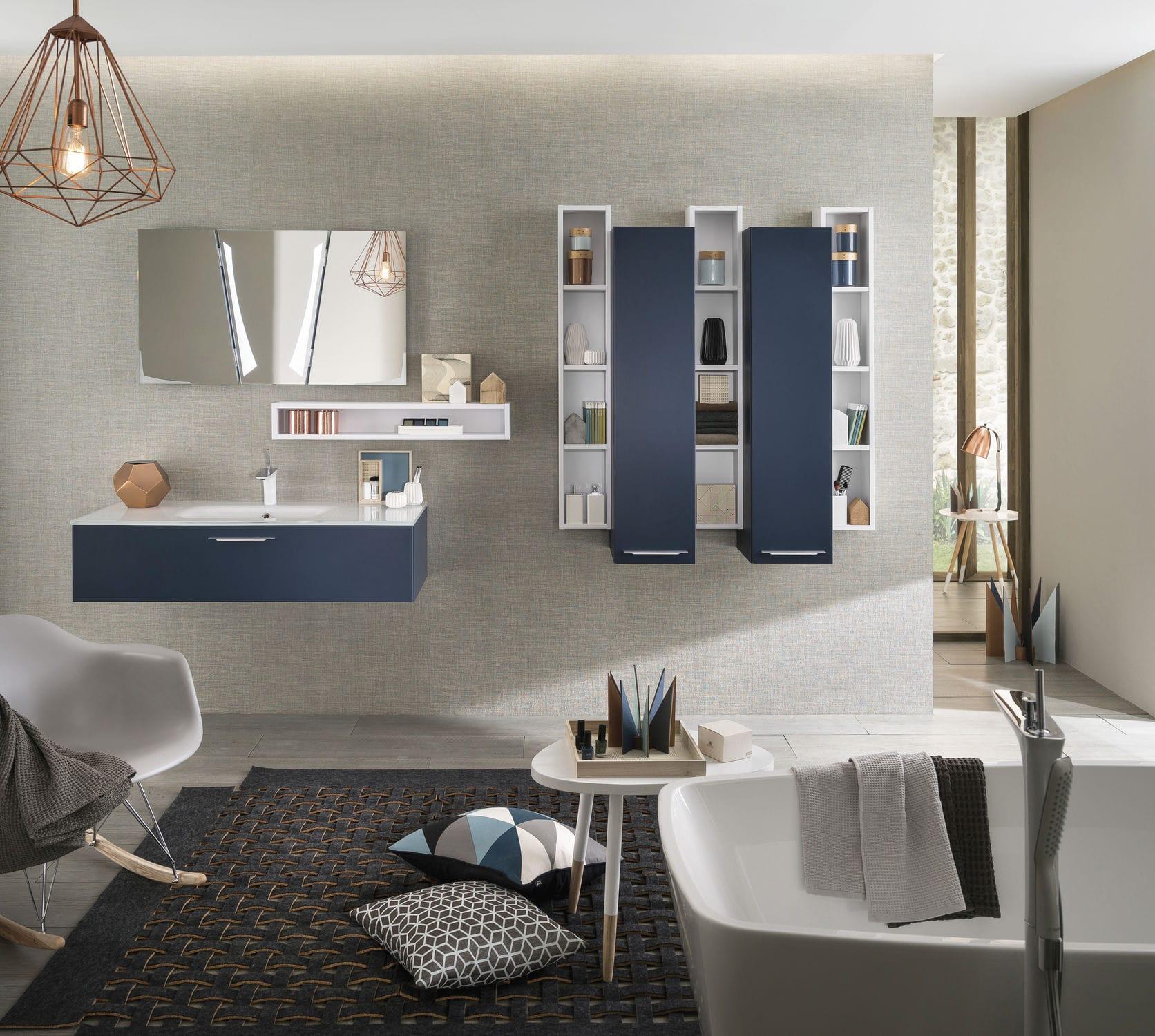 salle de bain contemporaine   en verre   laquée - UNIQUE Soft outremer mat 3bb1d4a19cb8
