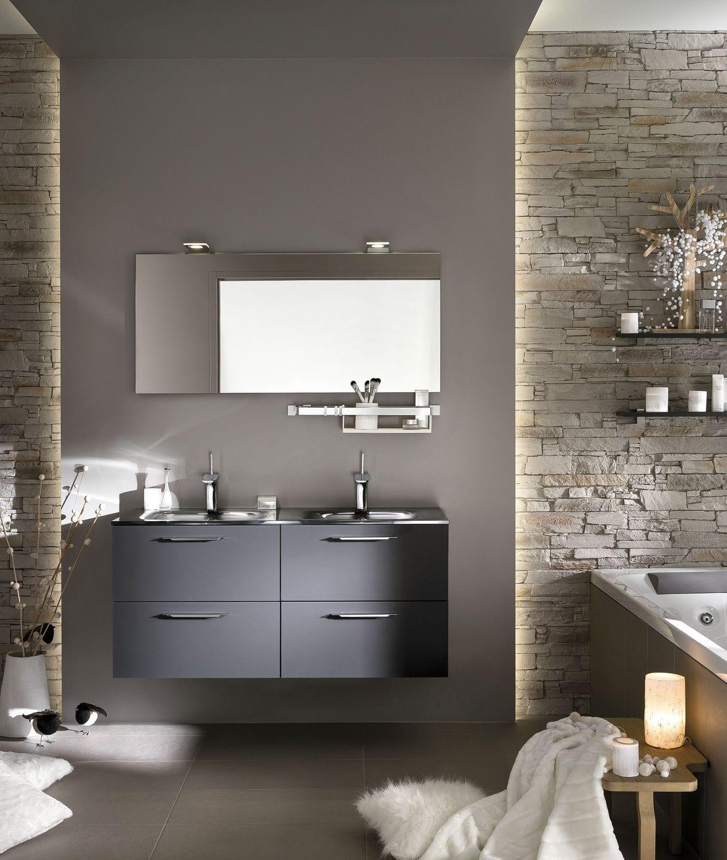 salle de bain contemporaine en bois laqu en verre unique sweet graphite satin delpha - Meuble Delpha Unique Onde