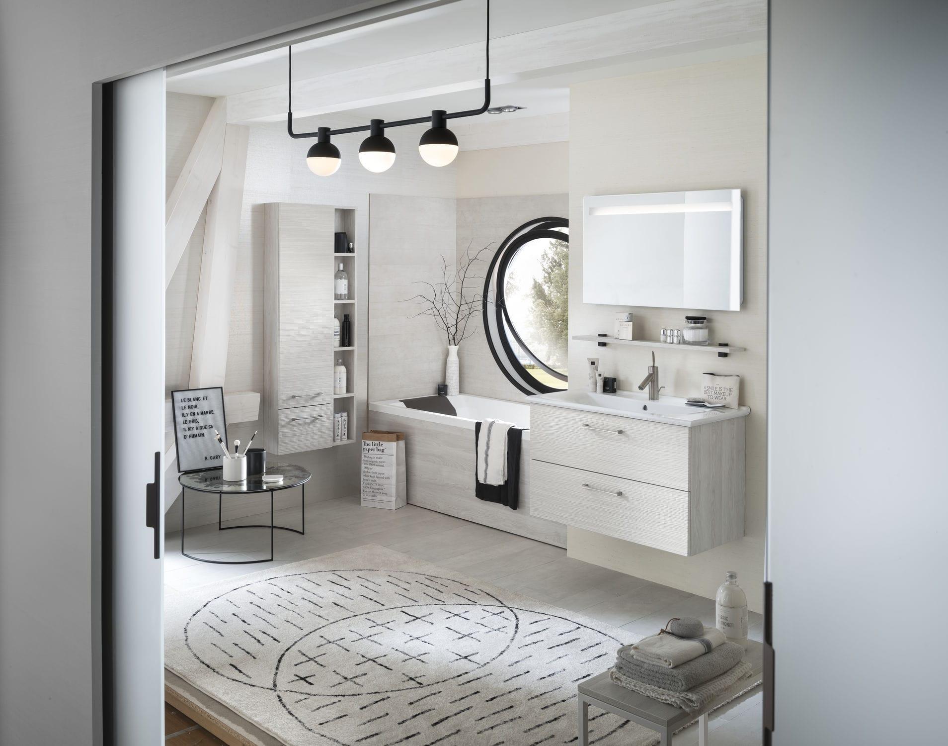 Salle de bain contemporaine / en céramique / en chêne - UNIQUE Onde ...