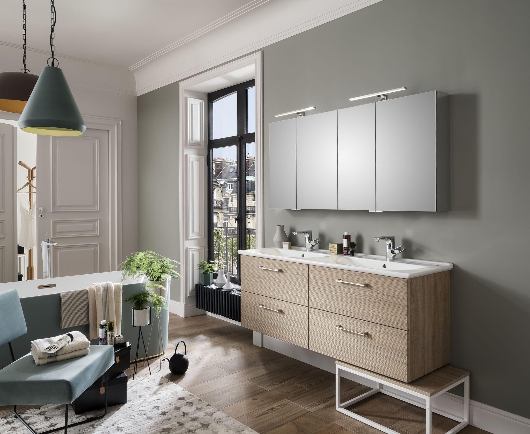 Salle de bain contemporaine / en céramique / en chêne / sur mesure ...