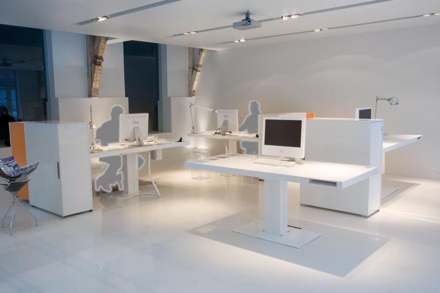 Bureau pour open space en aluminium contemporain