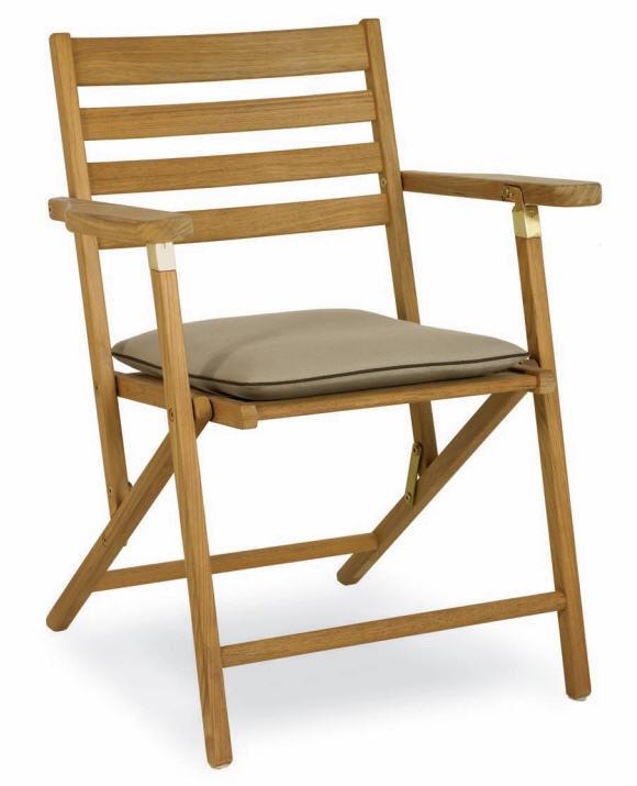 Chaise Classique Pliante Avec Accoudoirs En Bois