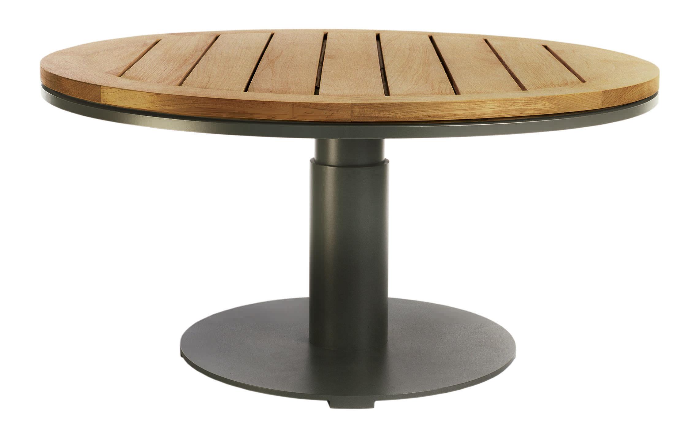 Table contemporaine en teck ronde de jardin PENINSULA by