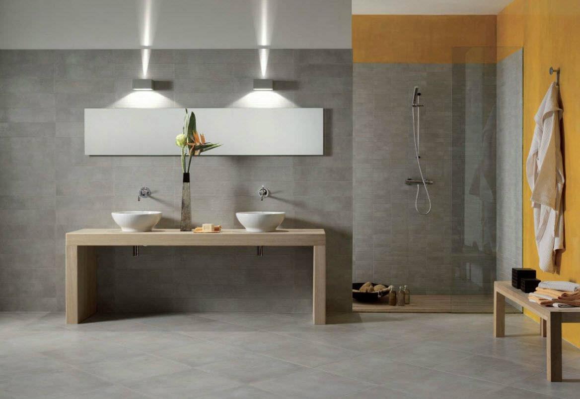 salle de bain contemporaine en corian en verre en bois massif - Salle De Bain Contemporaine Bois