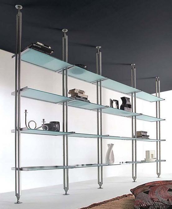 etagere metallique et verre