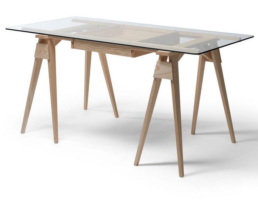 Bureau en bois en verre design scandinave professionnel arco