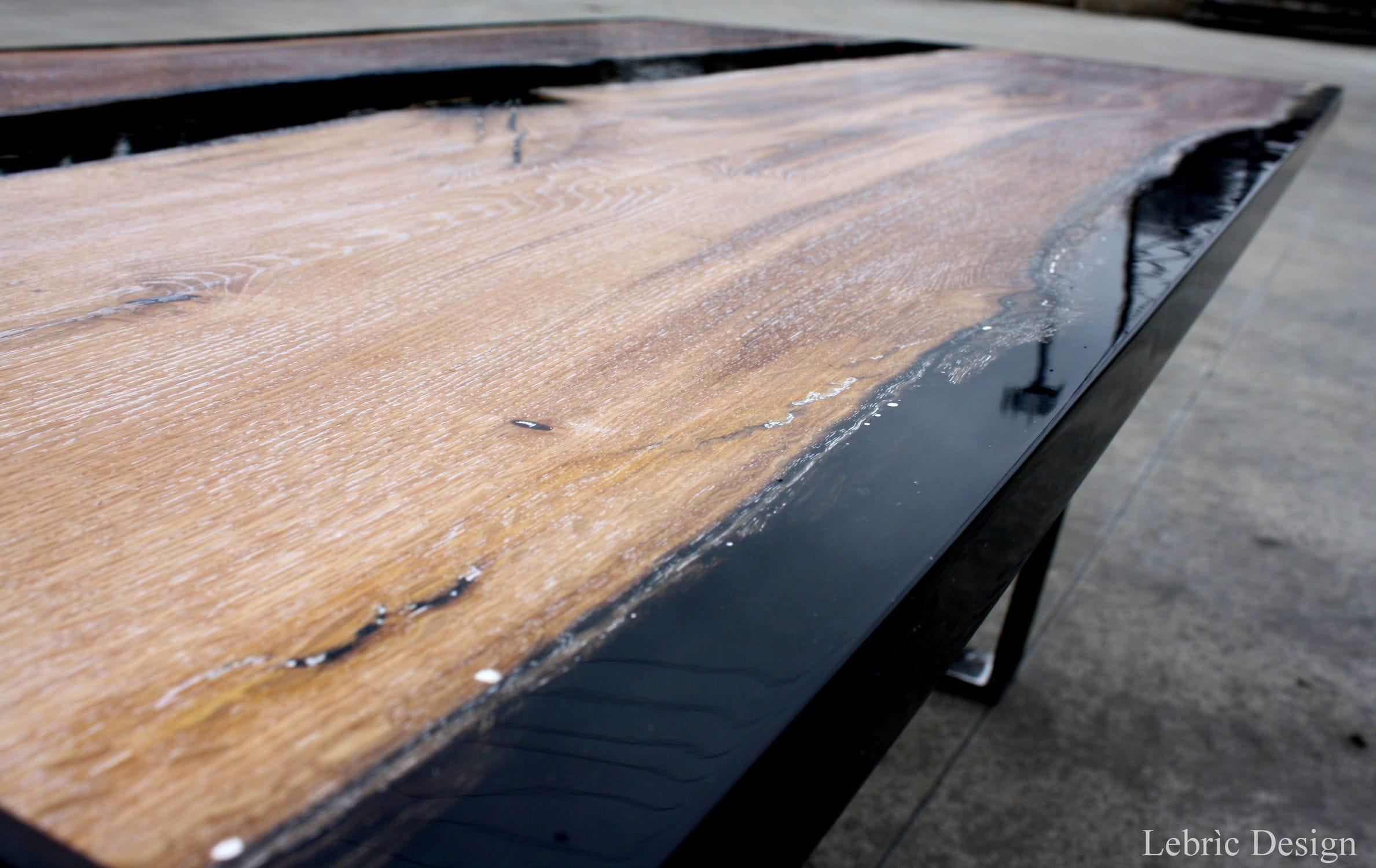 Table Basse Contemporaine En Bois En Résine époxy Black