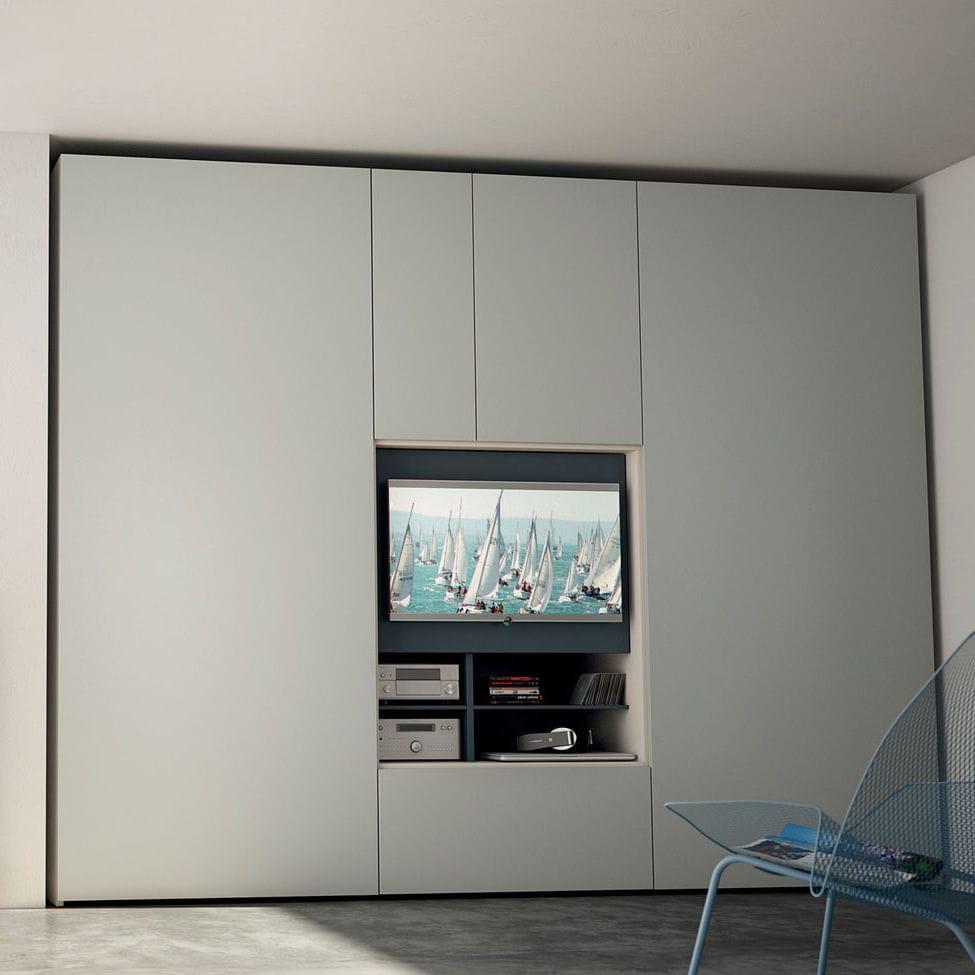 Armoire Chambre Avec Tv armoire contemporaine / en bois / à porte pliante / avec écran tv