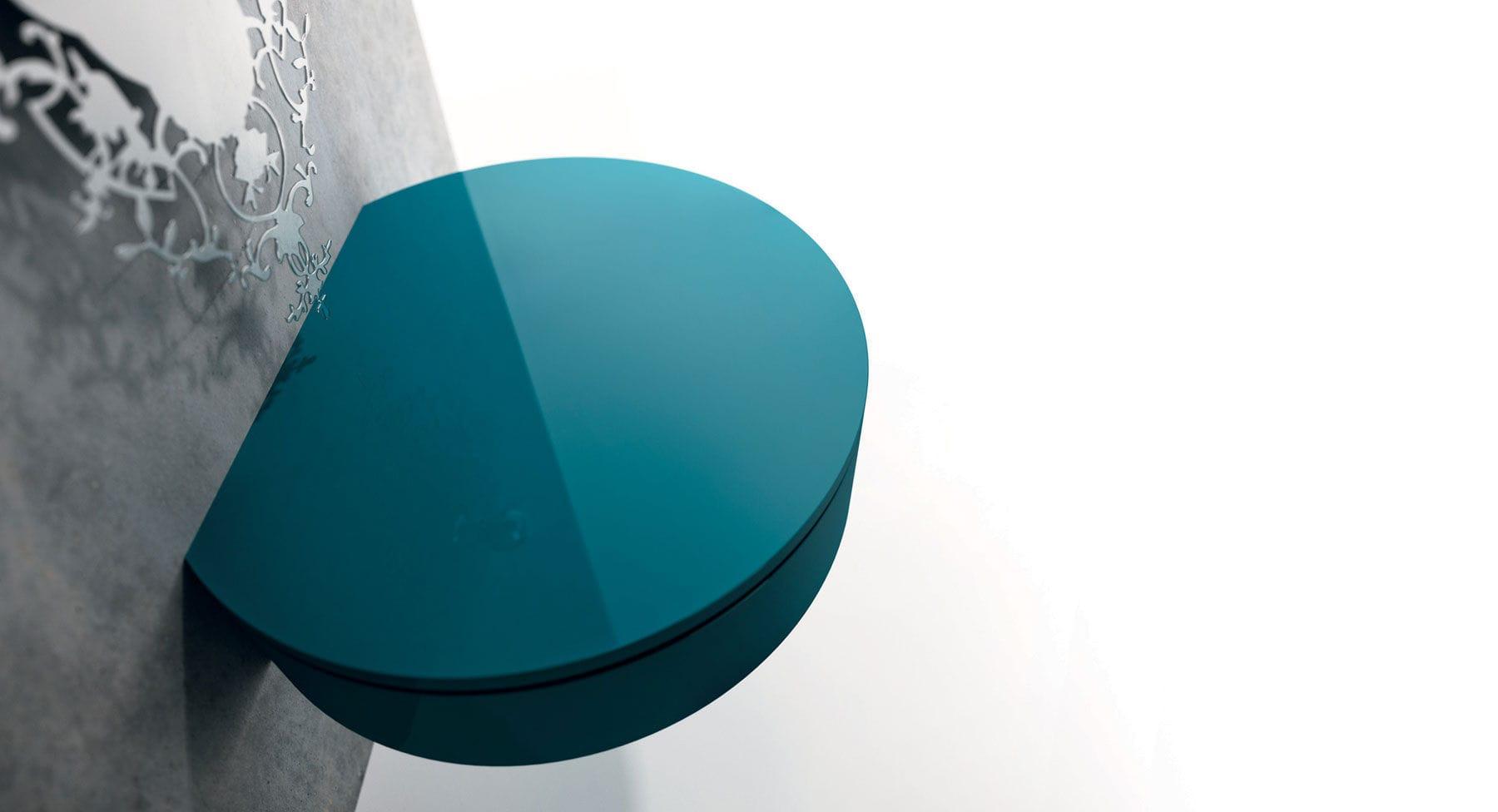 Table de chevet contemporaine / en métal / ronde / avec tiroir ...