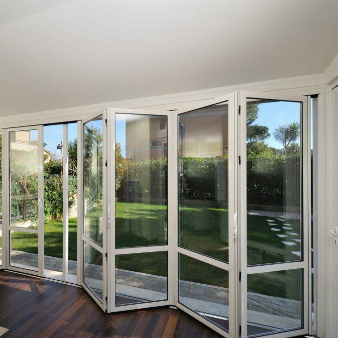 baie vitr e coulissante empilable pliante en aluminium double vitrage sunroom. Black Bedroom Furniture Sets. Home Design Ideas