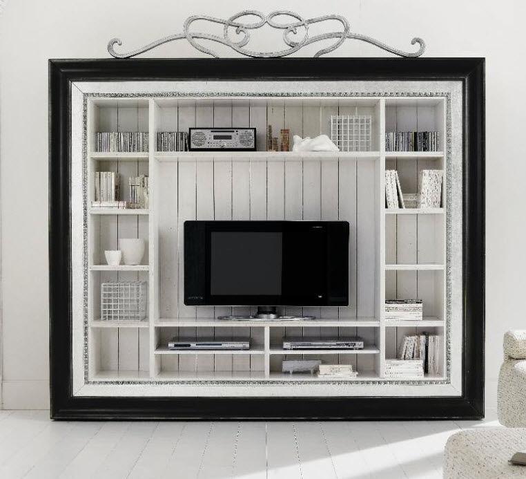 meuble tv classique en bois en bois patin 81103 - Meuble Tv Blanc Patine