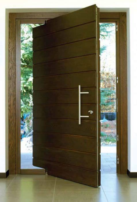 Bien-aimé Porte d'entrée / pivotante à axe excentré / en bois / acoustique  OP18