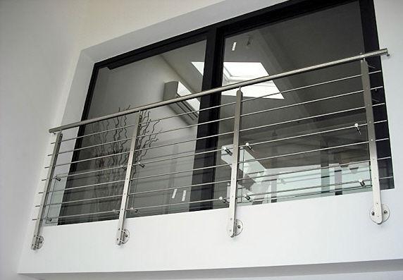 garde-corps en inox / à panneaux en verre / à barreaux / d