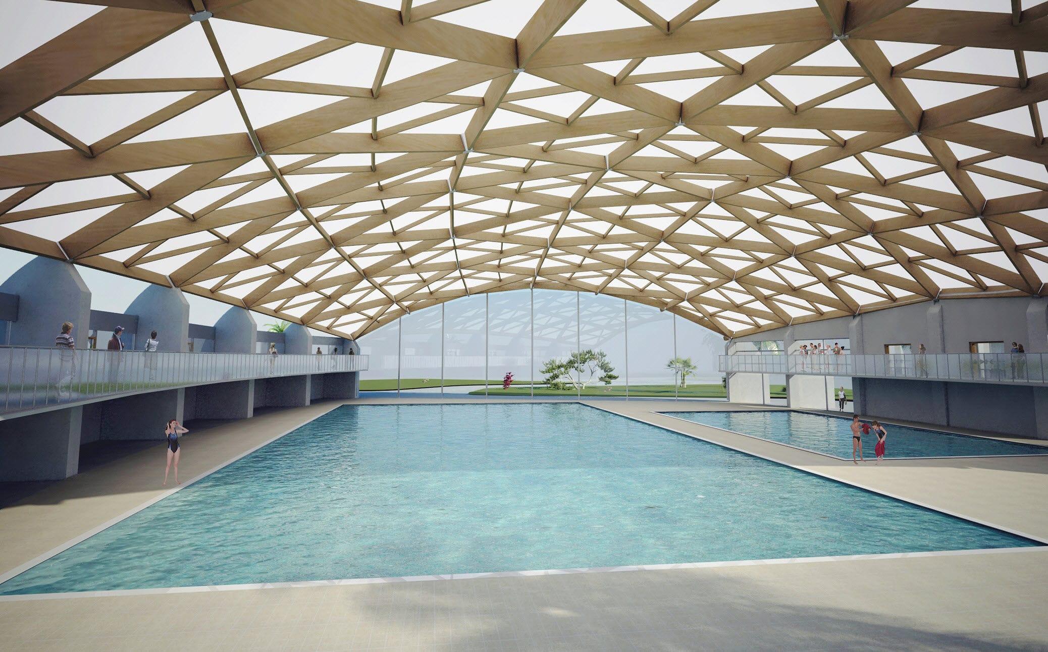 charpente en bois lamell coll pour piscine publique wood system international srl - Abri Piscine Bois Lamelle Colle