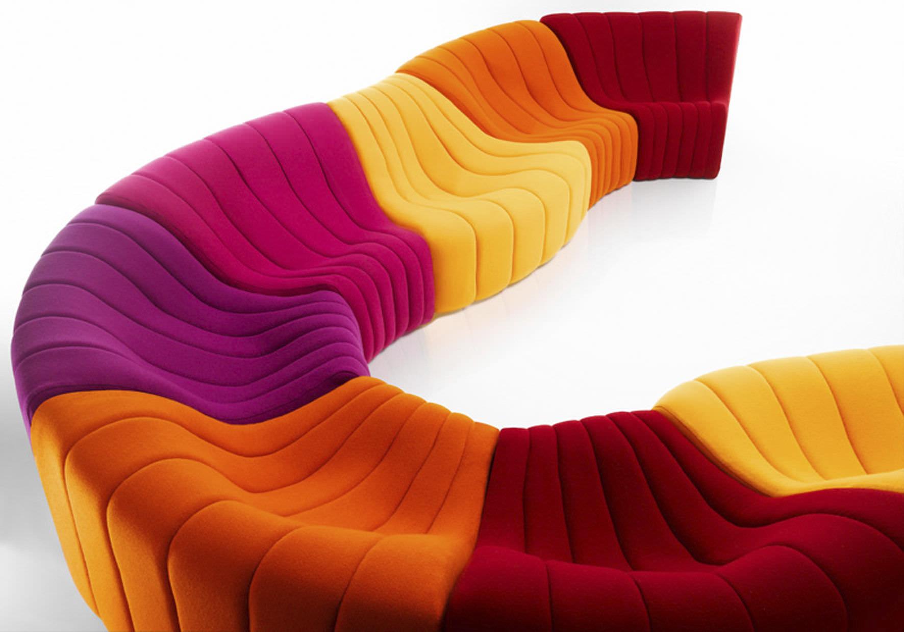 Canapé modulable design original en tissu 7 places et plus