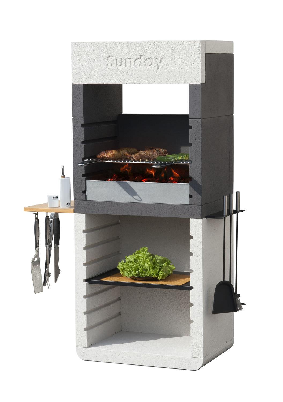 Barbecue à charbon / à bois / en pierre reconstituée - ONE HOOD ...
