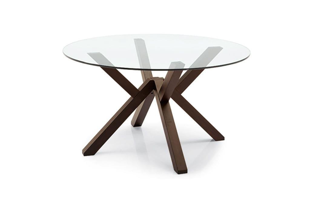 Good Table Ronde Verre Bois #13: ... Table Contemporaine / En Bois / En Verre / Ronde KIM ARAN Cucine