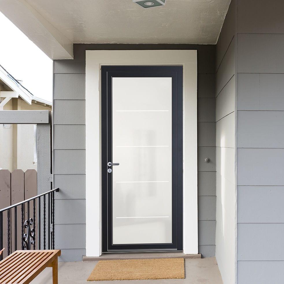 Porte Dentrée Battante En Verre En Aluminium BHAUTIKA - Porte de garage sectionnelle avec poignée de tirage porte fenetre pvc