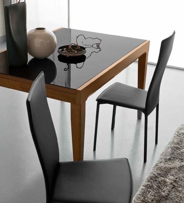 table contemporaine / en verre / en hêtre / rectangulaire - fly