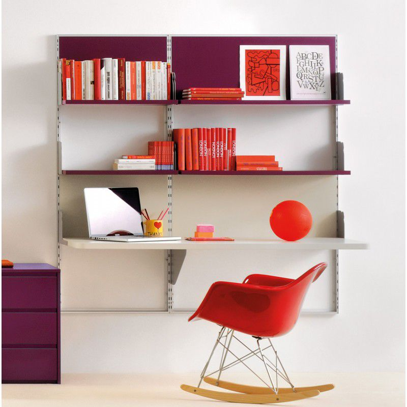 bureau en aluminium contemporain avec tag re pour enfant virtual clever. Black Bedroom Furniture Sets. Home Design Ideas