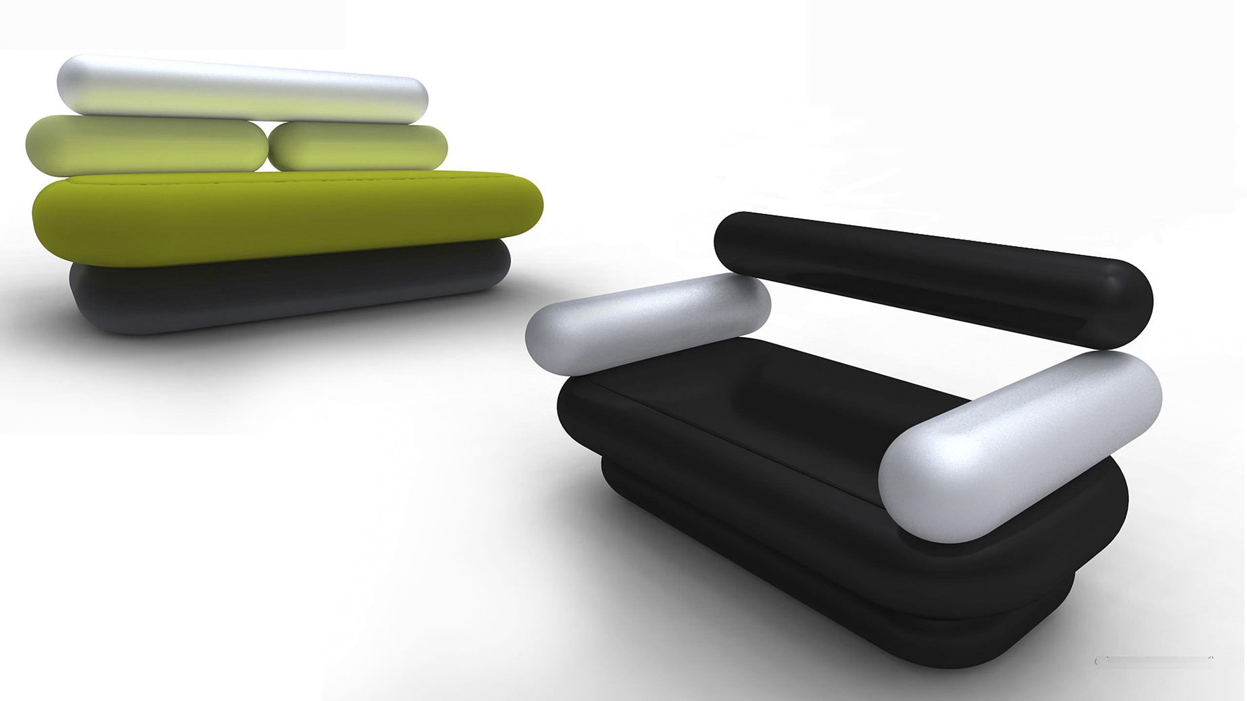 Canapé design original en tissu par Karim Rashid 2 places