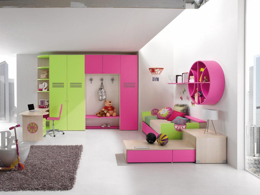 Chambre d\'enfant pour fille / verte - SPORT - BASKET 2 - Faer Ambienti