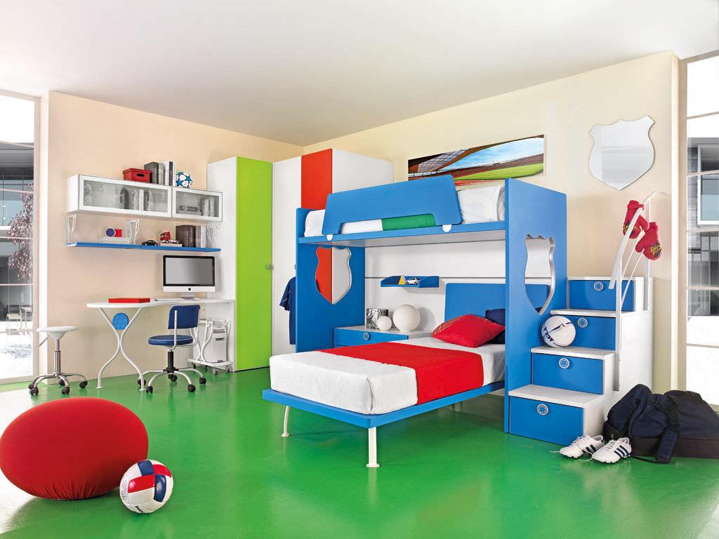 Chambre d\'enfant pour garçon / rouge - SPORT - CALCIO 5 - Faer ...