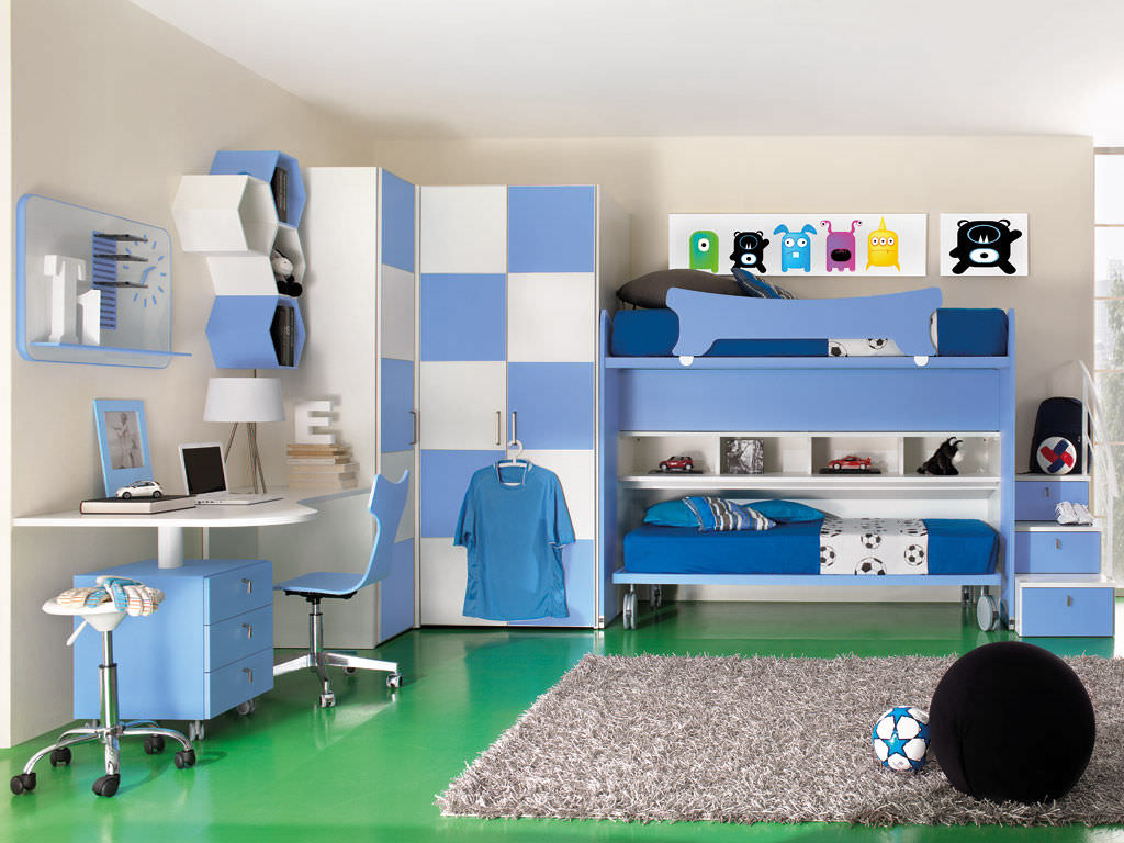 Chambre d\'enfant bleue / pour garçon - SPORT - CALCIO 6 - Faer Ambienti