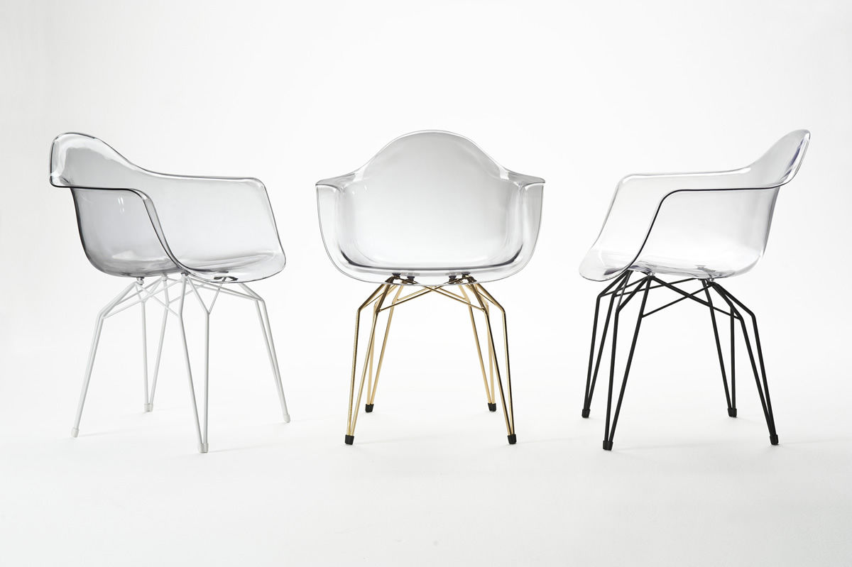 Chaise Contemporaine Avec Accoudoirs En Polycarbonate