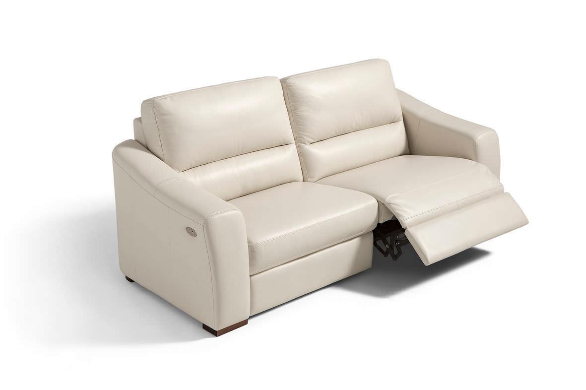 Canapé contemporain / en cuir / 3 places / avec repose-pieds ...