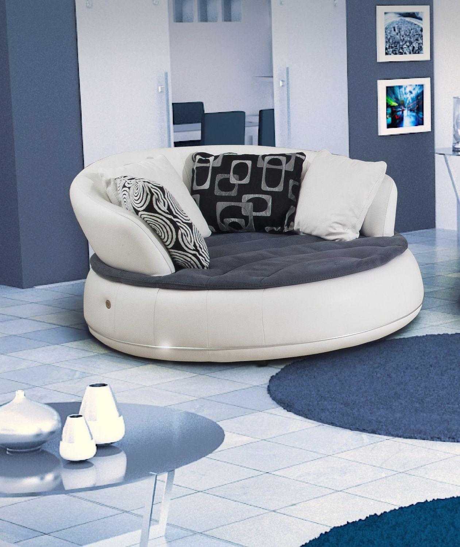 Canapé en arc de cercle rond contemporain en cuir ESPACE