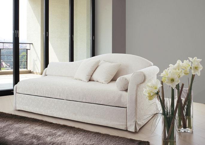 Divan Lit Gigogne : Canapé lit classique en velours avec lit gigogne pol