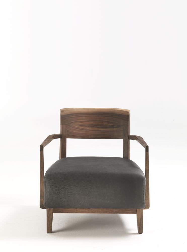 Fauteuil Contemporain En Noyer En Cuir Contract WILMA By - Fauteuil contemporain cuir