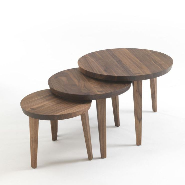 Table Gigogne Contemporaine En Bois Massif Ronde Tao 2014