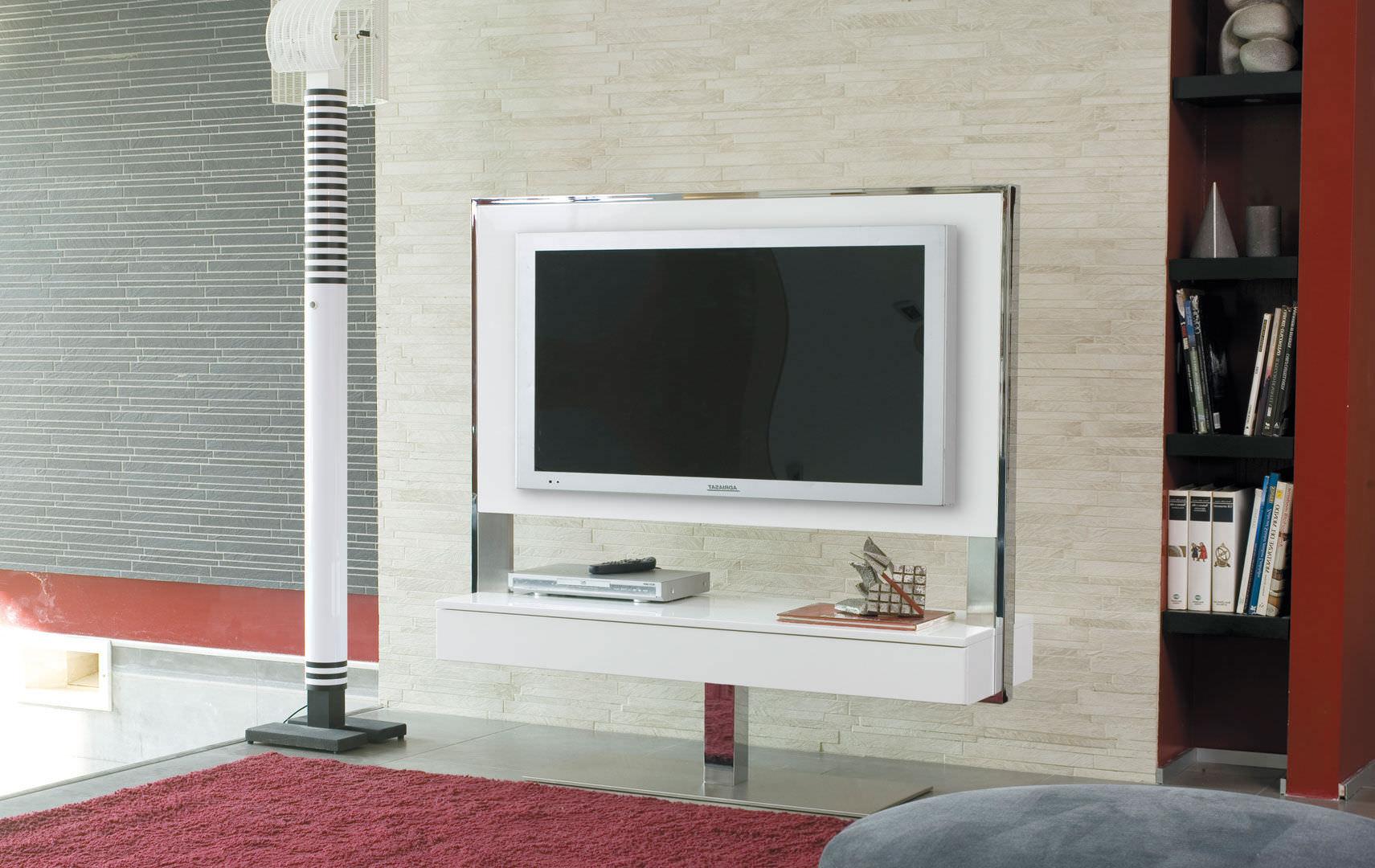 Meuble Tv Contemporain Pivotant En Acier En Bois Tecno  # Meuble Tv Rotatif