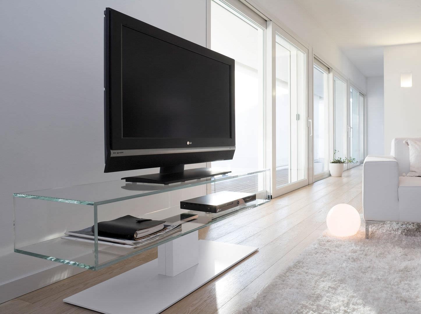 Meuble Tv Pivotant En Acier En Bois En Verre Daniel  # Meuble Tv En Verre