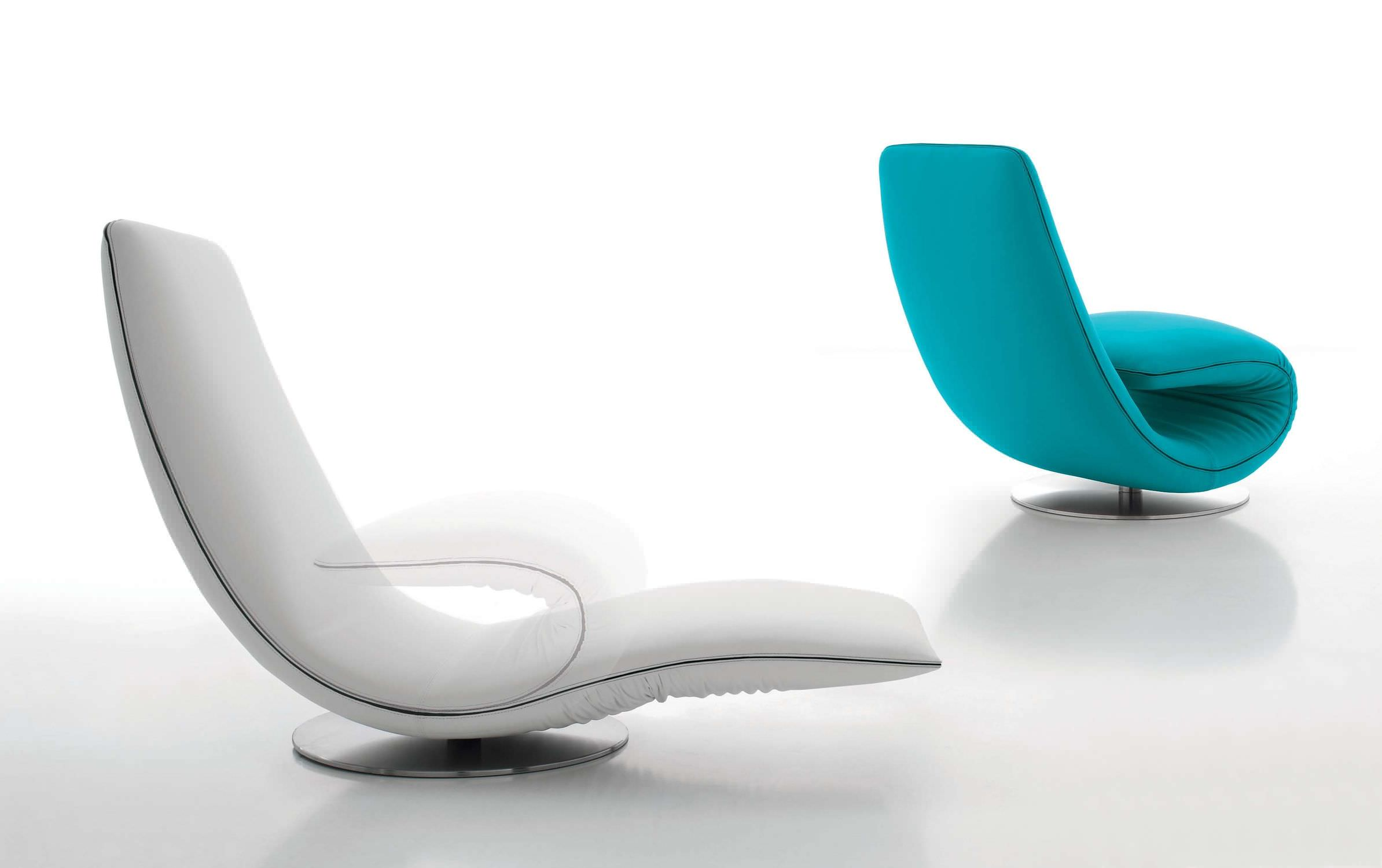 Chaise Longue Design Original En Tissu En Cuir Pliante