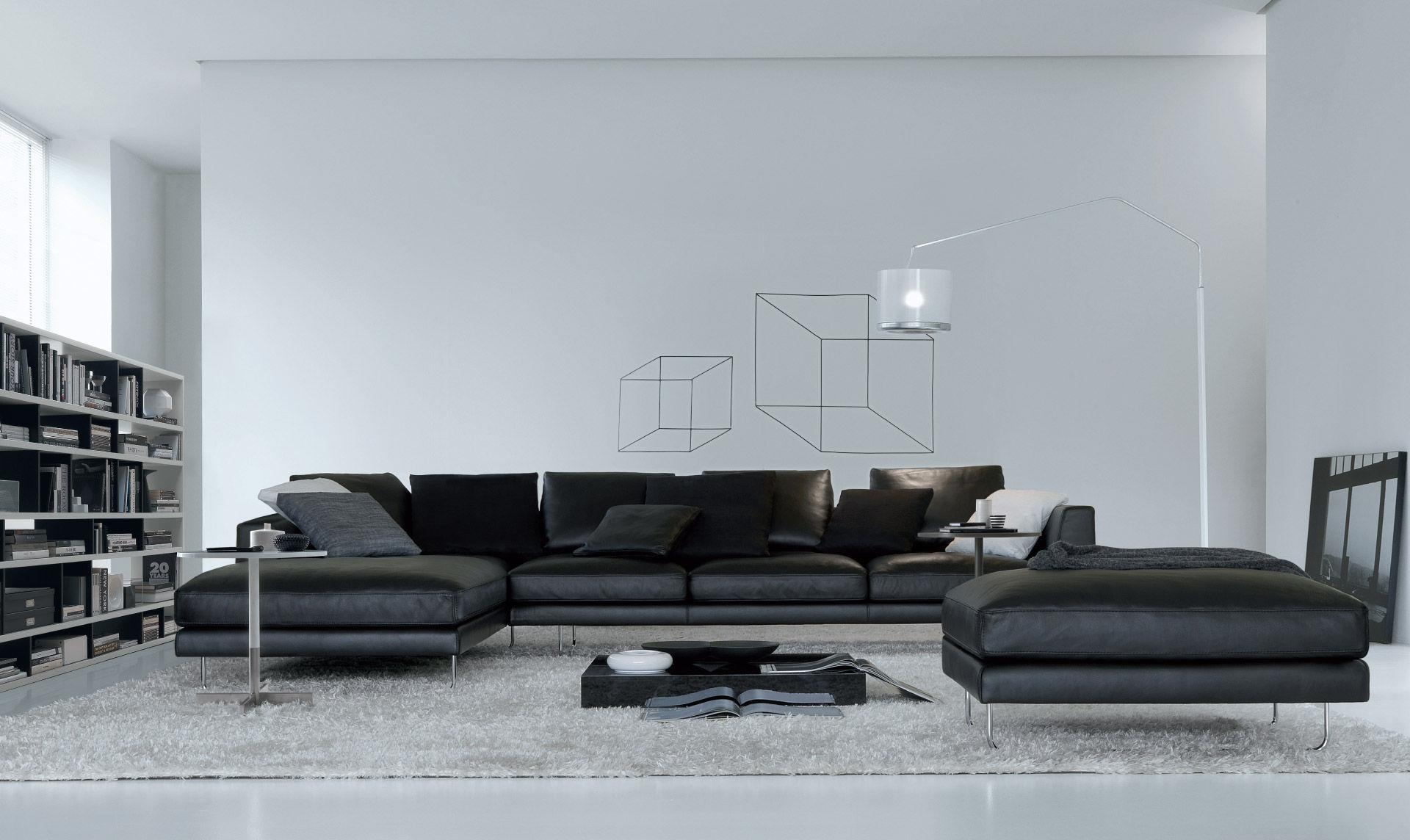 Canapé Modulable Contemporain En Cuir Places Et Plus BRIAN - Canapé design contemporain