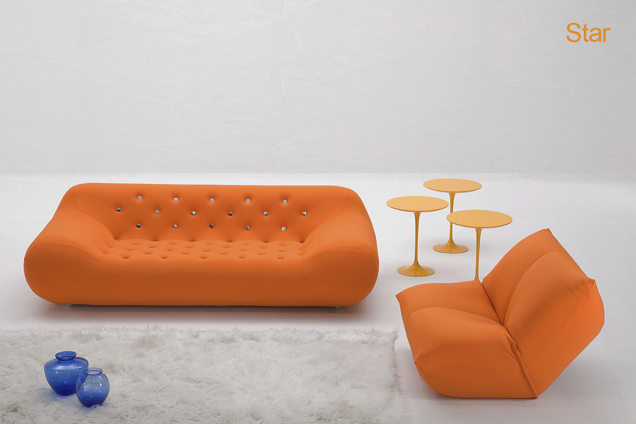Canapé design original en tissu 3 places rose SUPERSTAR by