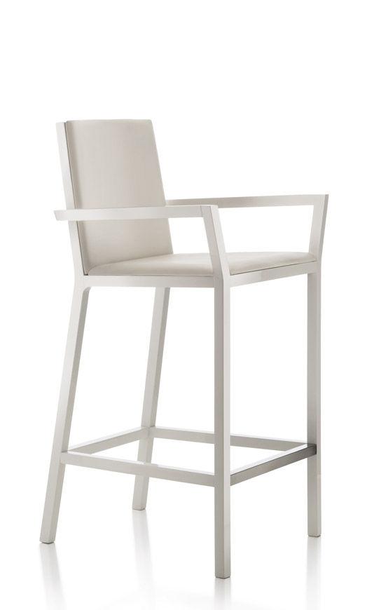 chaise de bar contemporaine / en tissu / en hêtre / en cuir ... - Chaise Bar Avec Accoudoir