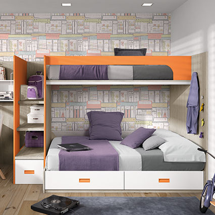 Lit Superposé Double Contemporain Pour Enfant Oldschool Kids