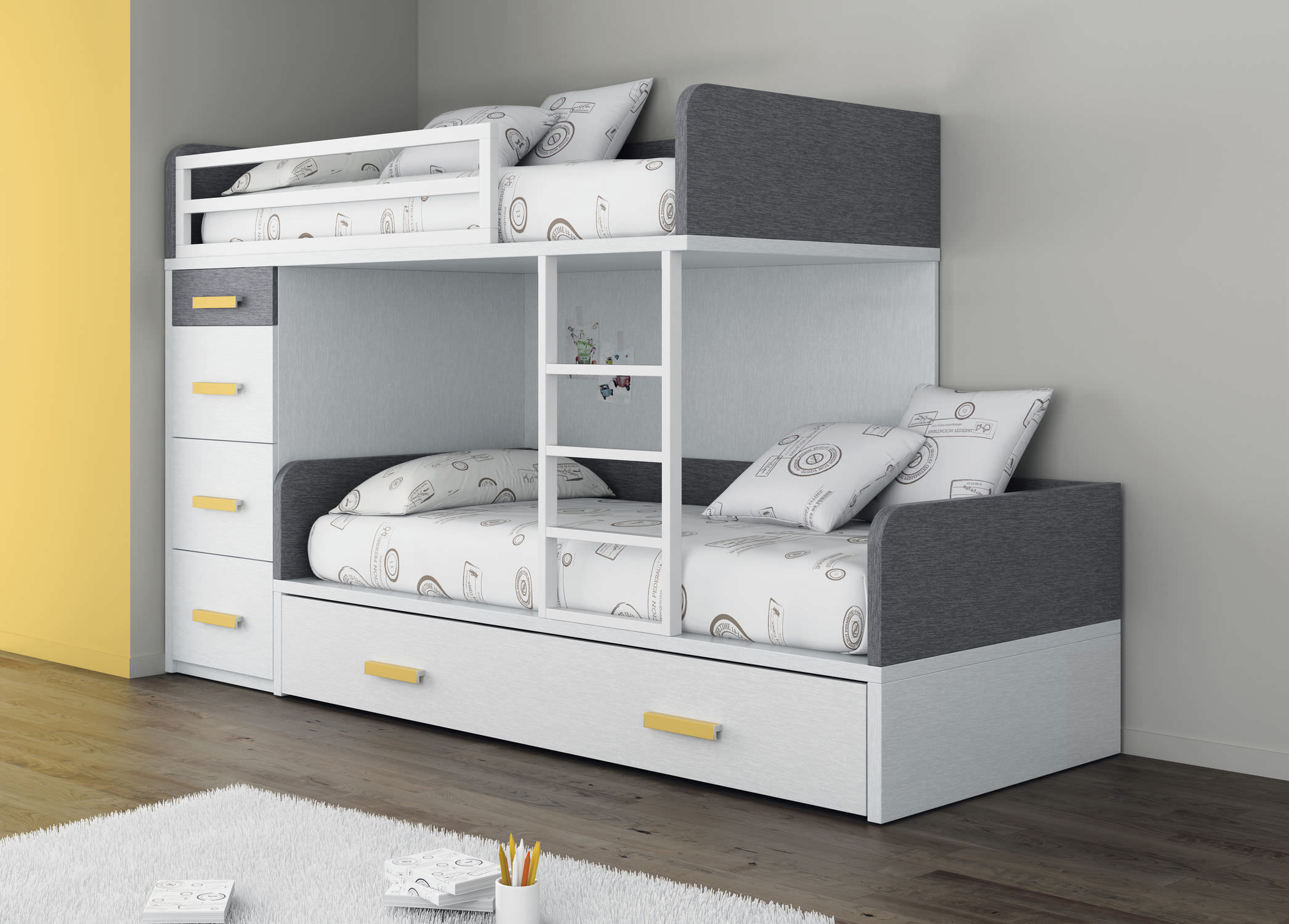 Lit Superposé Simple Contemporain Pour Enfant Unisexe