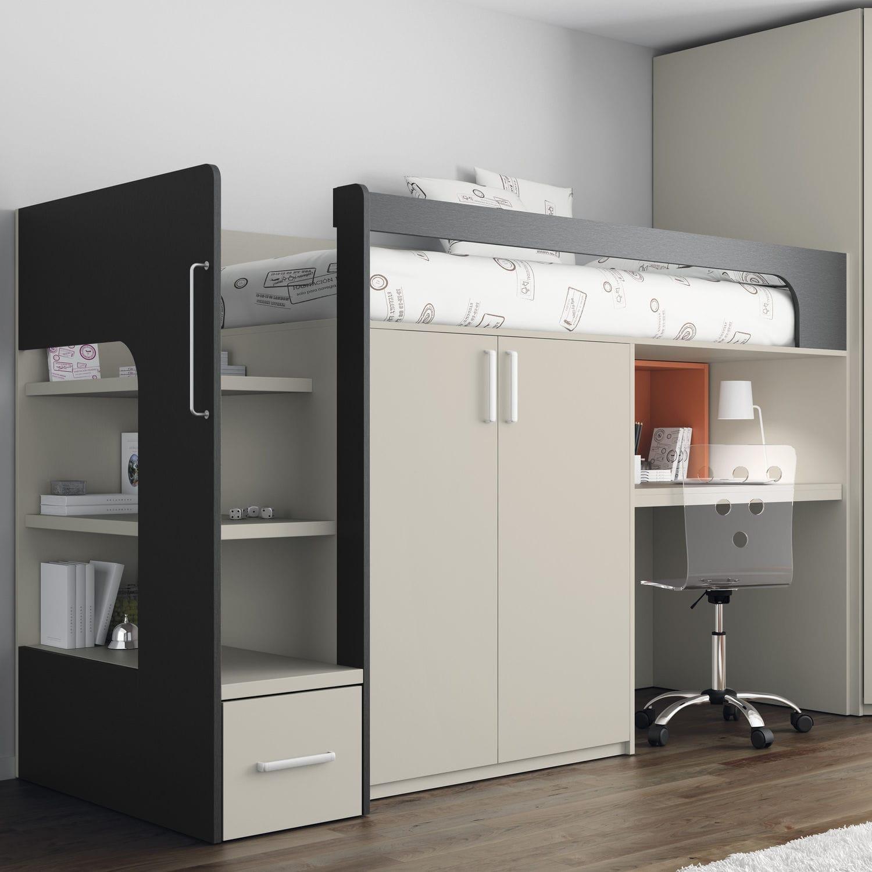 Lit Mezzanine Simple Contemporain Avec Bureau Touch 68 Ros