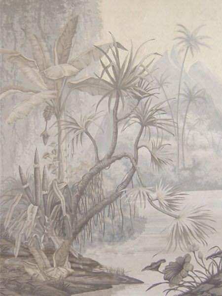 Papier Peint Classique A Motif Nature Panoramique Fait Main